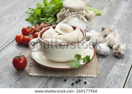 Dumplings with meat  Pelmeni russian national dish