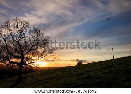 Dundry Hill Bristol Sunset Looking towards Glastonbury