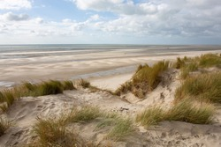 Dune and beach on the Atlantic coast in Le Touquet-Paris-Plage, France