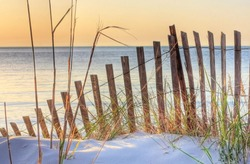 Dune Fence on Beach at Sunset