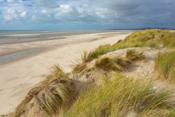 Dune landscape at the Atlantic ocean in Le Touquet-Paris-Plage, France