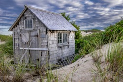 Dune shack on warm summer day at end of Dune Shack Trail in Provincetown, Massachusetts.