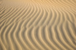 Dune waves and sand pattern.  Wave, sand dunes, dry desert, brown or yellow colored. The sand changes shape due to the wind to form sand ripples and jagged lines. Selective focus. Copy space.