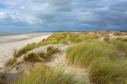 Dunes landscape in Le Touquet-Paris-Plage, Atlantic ocean France