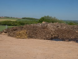 Dung Heap in a Farm Yard with a Blue Sky Background and Panoramic View of the Rural Devon Countryside, England, UK