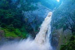 Dunhinda waterfall, Badulla in Sri Lanka after rain