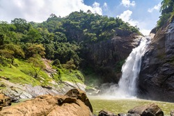 Dunhinda waterfall in a sunny day in Sri Lanka