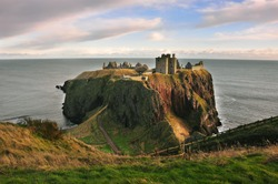 Dunnotar Castle and the North Sea in Stonehaven, Scotland