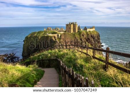 Dunnottar Castle. An amazing scottish landscape. Stonehaven, Aberdeenshire, Scotland, United Kingdom. October 2014. #1037047249