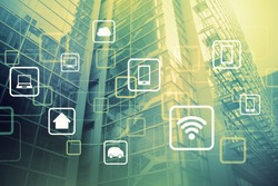duo tone graphic of smart building and wireless communication network, internet of things, abstract image visual