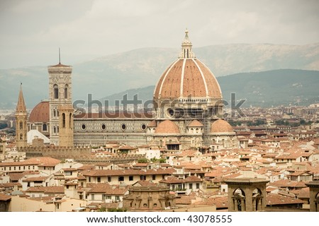 Duomo Campanile landmark and rooftops of Florence, Italy