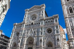 Duomo cathedral facade in Florence, Italy