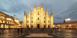 Duomo di Milano Cathedral in Duomo Square. (Piazza del Duomo or Duomo Square). Milano, Italy.