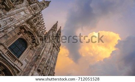 Duomo di Milano detailed exterior of the cathedral, Milan, Italy #712051528