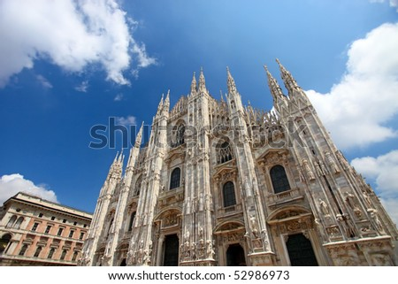 Duomo di Milano (Milan Cathedral), Italy, on bright blue sky background