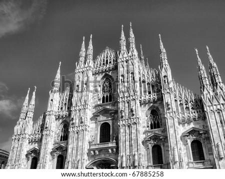 Duomo di Milano, Milan gothic cathedral church - high dynamic range HDR - black and white