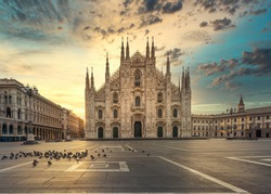 Duomo , Milan gothic cathedral at sunrise,Italy,Europe.Horizontal photo with copy-space.