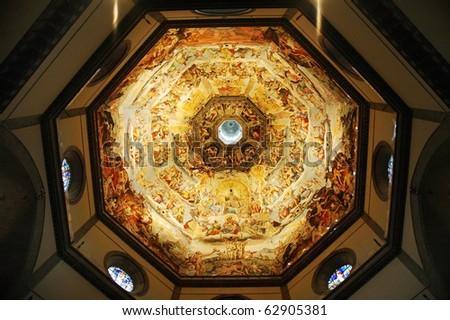 Duomo Santa Maria Del Fiore and Campanile. Florence. Inside Interior. Italy