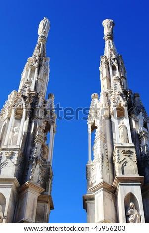 Duomo spires, gothic architecture details