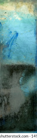 Duotone Blue and Black Abstract Painting.  Panorama.