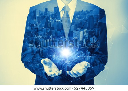 duotone double exposure of business person and technological vision abstract #527445859