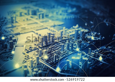 duotone graphic of smart city diorama and communication network concept IoT(Internet of Things), ICT(Information Communication Technology), digital transformation, abstract image visual #526919722