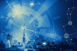 duotone graphic of smart city landscape and wireless communication network, abstract image visual