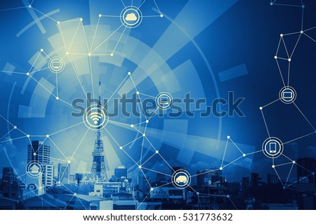 Photo of duotone graphic of smart city landscape and wireless communication network, abstract image visual
