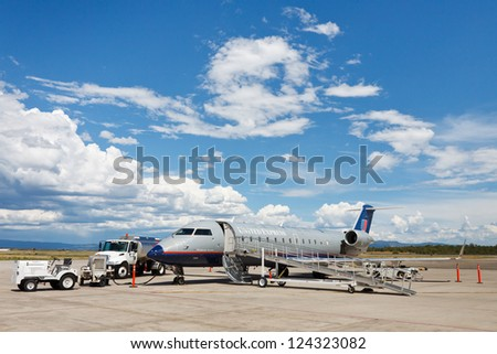 DURANGO, CO - AUGUST 3: Bombardier CRJ200 on August 3, 2011, at Durango-La Plata County Airport, CO. Due to its narrowness many airlines are in the process of transitioning to the larger CRJ700 model.
