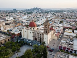 Durango, Durango / Mexico - May 2019: Beautiful aerial view of Santa Ana's church in Durango city, and skyline view