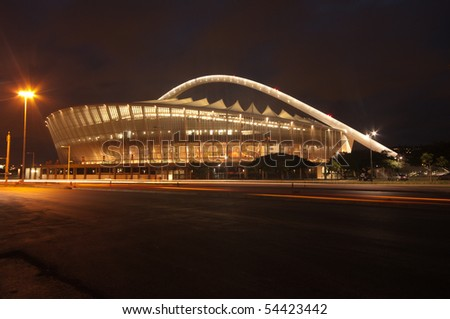 DURBAN - APRIL  5: the Moses Mabhida stadium of Durban photographed at night, april 5, 2010 in durban, South Africa