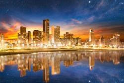 Durban city beachfront buildings illuminated at night in KwaZulu Natal South Africa