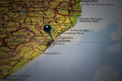 Durban, city in South Africa pinned on geographical map