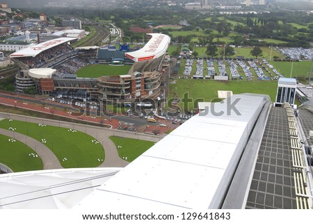 DURBAN, SOUTH AFRICA - NOVEMBER 26: Bird eye view of the old ABSA stadium (Kings Park Stadium) in Durban, South Africa, on november 26, 2009 in Durban, South Africa. Home of the Sharks rugby team.