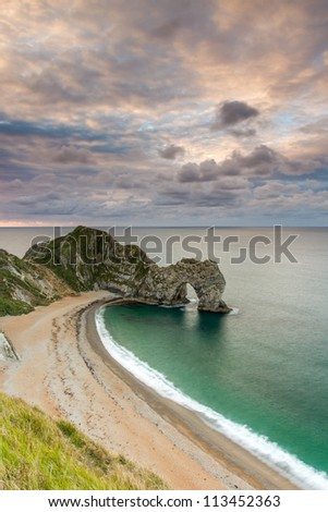 Durdle Door beach at first light, Dorset's Jurassic Coast