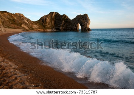Durdle Door, Dorset (UK) - a large natural limestone arch, on the Jurassic World Heritage coastline.
