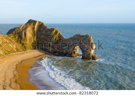 Durdle Door natural rock arch near Lulworth in Dorset. Part of the Jurassic coastline.