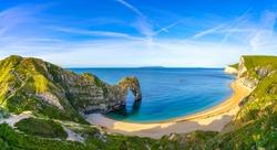 Durdle Door panorama, Dorset, Jurassic Coast, England, UK