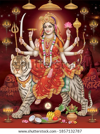Durga Mata with colorful background, digital wall poster Foto stock ©