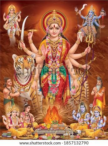 Durga Mata with colorful background, digital wall poster Zdjęcia stock ©