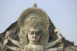 Durga Puja Idol Pandal Decoration & Chandelier during famous Durgapuja festivals at Kolkata, West Bengal