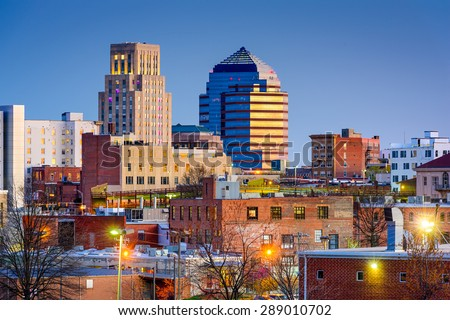 Durham, North Carolina, USA downtown skyline.