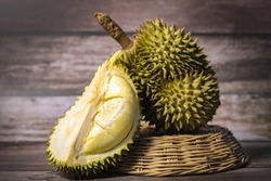 Durian fruit. Ripe durian. Tasty durian that has been peeled