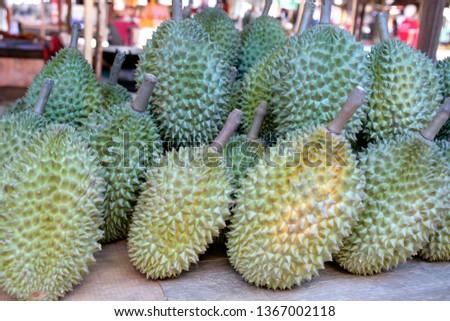 Durian, lat. Durio zibethinus, on a market in Thailand, Southeast Asia, Asia