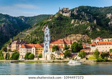 Durnstein on the Danube River in Wachau Valley. Austria.