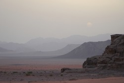 dusk ambiance in famous Wadi Rum desert, Jordan Middle East. Valley of the Moon