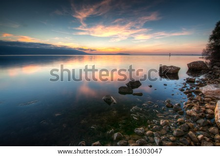 Dusk at Lago di Varano (Varano lake) on the Gargano peninsula in Puglia, Italy