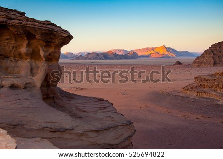 "Dusk at Wadi Rum, Jordan (used as the set for the movie ""Lawrence of Arabia"")"