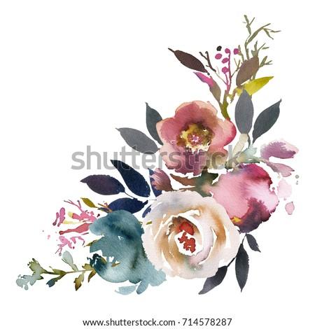 Dusk Blue Pale Pink Gray White Watercolor Floral Corner Bouquet.