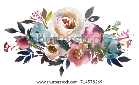 Dusk Blue Pale Pink Gray White Watercolor Floral Landscape Bouquet.